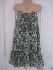 Butterfly by Matthew Williamson blue green and grey strapless look sundress UK10