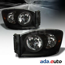 2006-2009 Dodge Ram 1500 2500 3500 Factory Style Black Headlights RH+LH Pair
