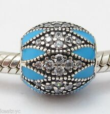 ROYAL LEGACY CHARM Clear CZ  Bead Sterling Silver.925 For European Bracelets 918