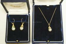 3 PIECE SET 14K GOLD AND TAHITIAN PEARL NECKLACE AND EARRINGS. THE P... Lot 1078