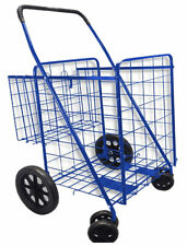 Blue 360 Rotating Wheel-Folding Shopping Cart Grocery Laundry Travel Trolley