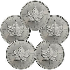 Special Price! Lot of 5 2016 Canada .9999 Fine Silver Maple Leaf Coins SKU37995