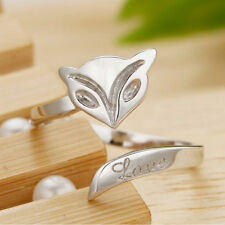 Fashion Silver Plated Lady Finger Rings Opening Adjustable Fox Ring Jewelry HGUK