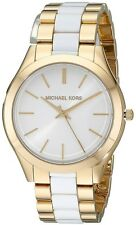 Michael Kors Women's Slim Runway White Acetate Gold-Tone Bracelet Watch MK4295