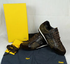 100% Auth. FENDI Low Top Shoes Leather Trainers Sneakers Size 7.5 MINT 7E0748