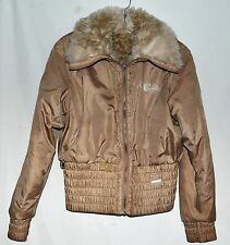 Rocawear Tan Womens Puffer Jacket with Cream & Brown Faux Fox Fur Lining  Size M