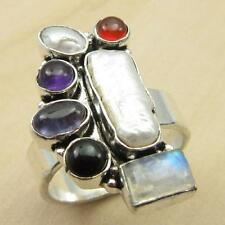 Real Multi Gemstone ! 925 Silver Overlay FREE SHIPPING Ring Size US 9 BRAND NEW