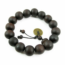 Vintage Men's Wood Buddha Buddhist Prayer Beads Tibet Mala Bangle Wrist Bracelet