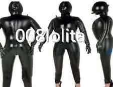 100%Latex Rubber Black Catsuit Inflatable Stylish Hood Bodysuit Size XS~XXL