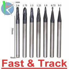 7pcs Radius 0.5-2.0mm 2 Flutes Ball Nose End Mill Cutter Set CNC Tool frese