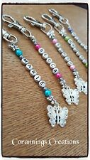 Personalised Handmade Beaded Key Rings Butterfly Charm Any Name Any Colour!