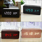 1Pc Digital LED Snooze Voice Control Wood Desk Alarm Clock Timer Thermometer