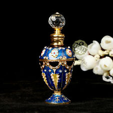 Vintage Blue Cut Glass Metal Perfume Bottles Stopper Empty Collectables Gift 5ml