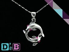 Lovely Pink Dolphin 925 Sterling Silver CZ Pendant .925 Fine Jewelry