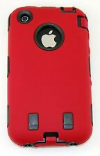 Body Armor Hybrid Shell Case Cover for Apple iPhone 3G / 3GS - Red & Black
