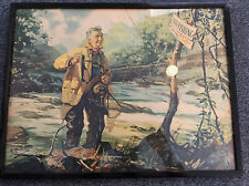 TRUE VINTAGE FRAMED RARE HY HINTERMEISTER NO FISHING FLY FISHING PRINT