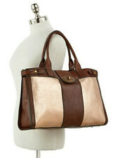Genuine FOSSIL VINTAGE VRI GOLD & BROWN LEATHER WEEKENDER HANDBAG ZB5695710