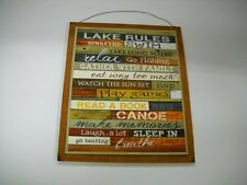 Lake Rules Wooden Wall Art Sign Sleep in Take Walks Go Boating Count Stars Play