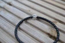 Braided Leather Bracelet with 925 Silver Pandora Charm - Dog Bowl