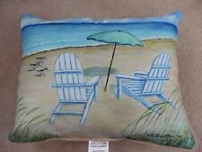 New Betsy Drake Coastal Adirondack Beach Chairs Large Indoor/Outdoor Pillow