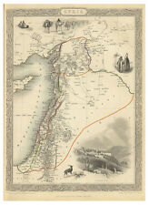 Israel Palestine Syria Middle East illustrated map John Tallis ca.1851
