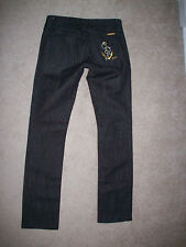 JUICY COUTURE DARK WASH JEANS 27 GOLD ANCHOR AND RHINESTONES ON POCKET JGMU4059
