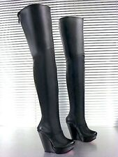 MORI ITALY WEDGES NEW OVERKNEE HEELS BOOTS STIEFEL STIVALI LEATHER BLACK NERO 45