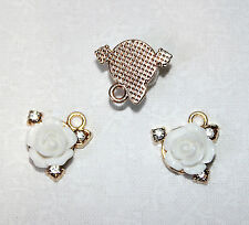 4x gold plated charms pendants with resin rose & rhinestone diamanté 15x10mm