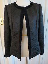 Dana Buchman Black Brocade Jacket with Black Velvet Trim -- Size 12 --  NWOT