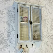 Shabby Chic Wall Hanging Shelf Display Unit Mesh Vintage Style Off White