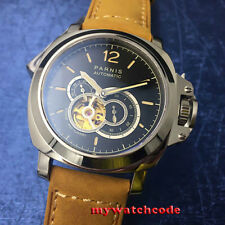 43mm Parnis black dial Luminous sapphire glass Miyota Automatic Men's watch P682