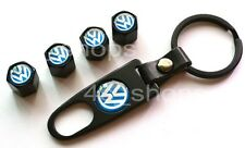 4 X Fancy Valve Tire Wheel Decorated Rim Caps + 1 Wrench Keychain For Volkswagen