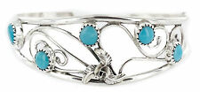 $300Tag Handmade Authentic Nez Navajo Silver Natural Sleeping Turquoise Bracelet