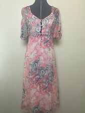 Betsey Johnson Silk Blend Floral Print Lined Dress Pink Gray Spring Sz 4 (K)