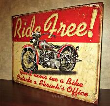 Ride Free Classic Vintage Motorcycle Biker Art Print Tin Poster Sign Wall Plaque
