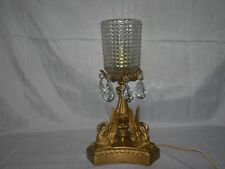 Antique/Vintage~SWAN Metal table LAMP~PRISMS~Gold Gilt~Victorian~Hollywood~Deco