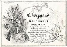 """""""Porzellankarte"""", Geschäftskarte des Büchsenmachers C. Weygand Wiesbaden, um 184"""