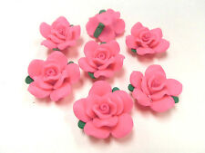 10 Fimo Polymer Clay PInk Flower Rose Fimo Beads 30mm
