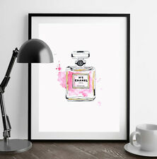 *** Original *** Watercolour Pink Coco Chanel No 5 Perfume Painting Girl Gift A4