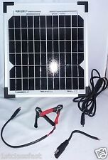 10W 12V MONO CRYSTALLINE SOLAR PANEL ALUMINUM FRAME W 10' CORD & POWER ADAPTERS