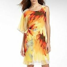 BISOU BISOU Womens sz 14 Flutter Sleeve Dress Yellow/Orange Beach Michele Bohbot
