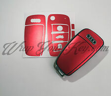 Red Satin Chrome Key Wrap Cover Skin Audi Remote A1 A3 A4 A5 A6 A8 TT Q3 Q5 Q7