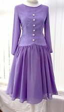Vintage Occasion Dress 10 Lilac Drop Waist Chiffon Tea Party Long Sleeved