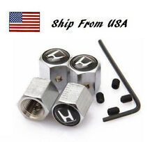 Honda Civic Emblem Black Logo Anti Theft Car Tire Valve Stem Caps Set