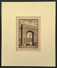 1918 BERNHARDT WALL Etching New York City Greenwich Village Wash. Square Arch