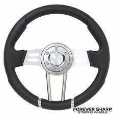 "Camaro Corvette Chevy Truck 14"" Drifter Black Steering Wheel w/ Billet Adapter"