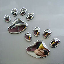Silver Colour 3D Pair Dog Paws Self Adhesive Sticker for Car Van Auto