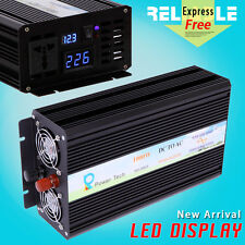 Power Inverter 1000W Pure Sine Wave Inverter 12/24/48V to 120/220V LED DISPLAY