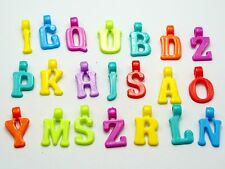 200 Assorted Colorful Acrylic Alphabet Letter Charm Pendants 17mm