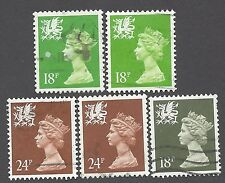 UNITED KINGDOM - WALES & MONMOUTHSHIRE - FIVE DIFFERENT MACHINS USED